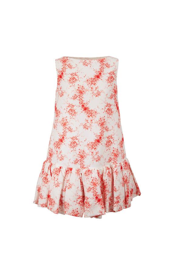 Valentino Ivory & Red Floral Flounce Hem Shift Dress