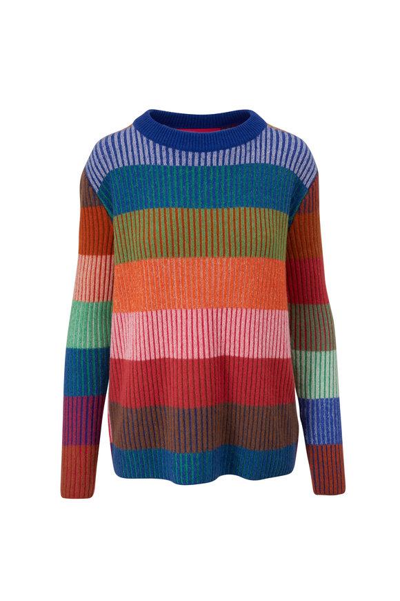 The Elder Statesman Yatzy Stripe Multicolor Cashmere Unisex Sweater