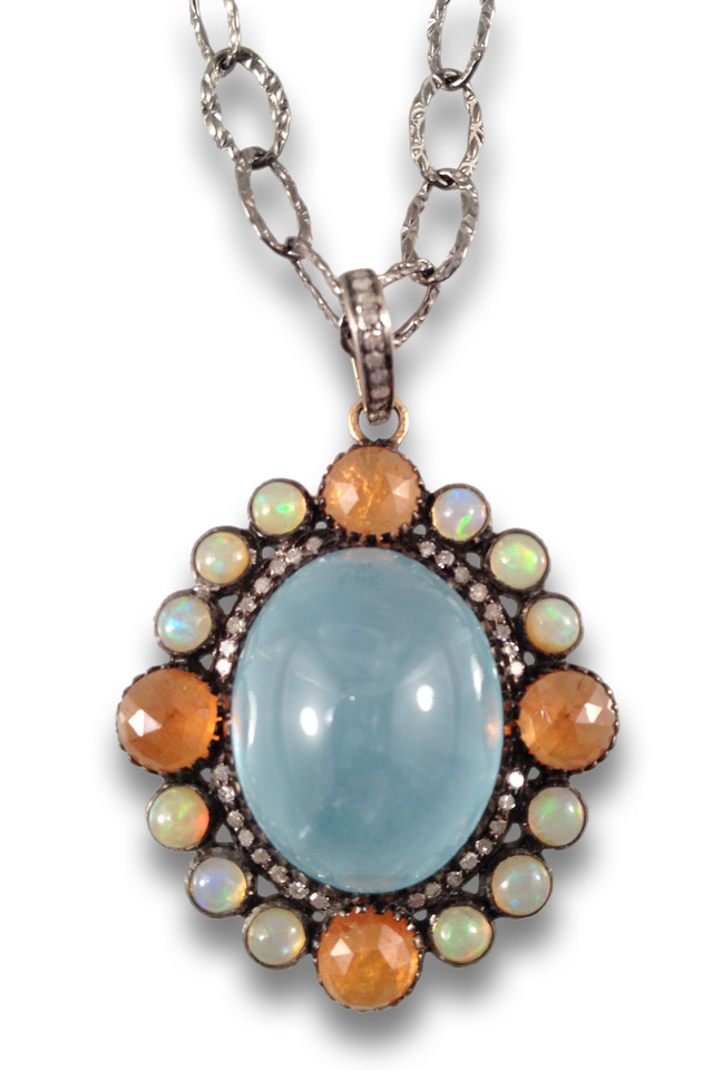Multi Stone Aquamarine Center Necklace