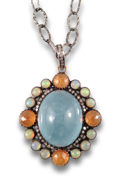 Loriann - Multi Stone Aquamarine Center Necklace