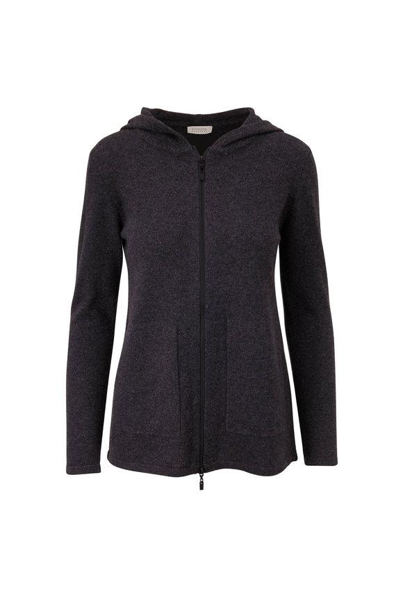 Kinross Charcoal Gray Cashmere Zip Hoodie