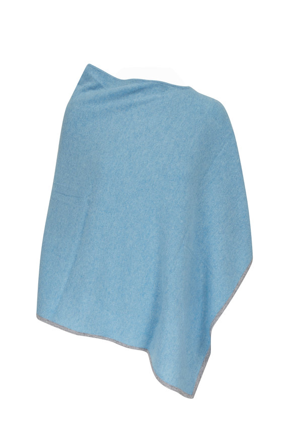 Kinross Waterfall & Sterling Cashmere Contrast Trim Poncho