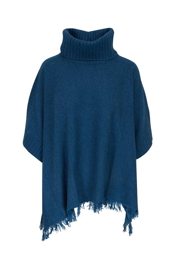 Kinross Blue Spruce Cashmere Fringe Trim Poncho