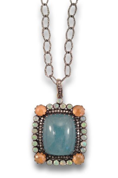 Loriann - Multi Stone Aqua Center Necklace