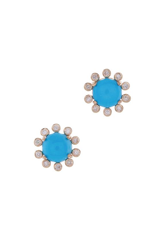 Loriann Sleeping Beauty Turquoise Flower Earrings