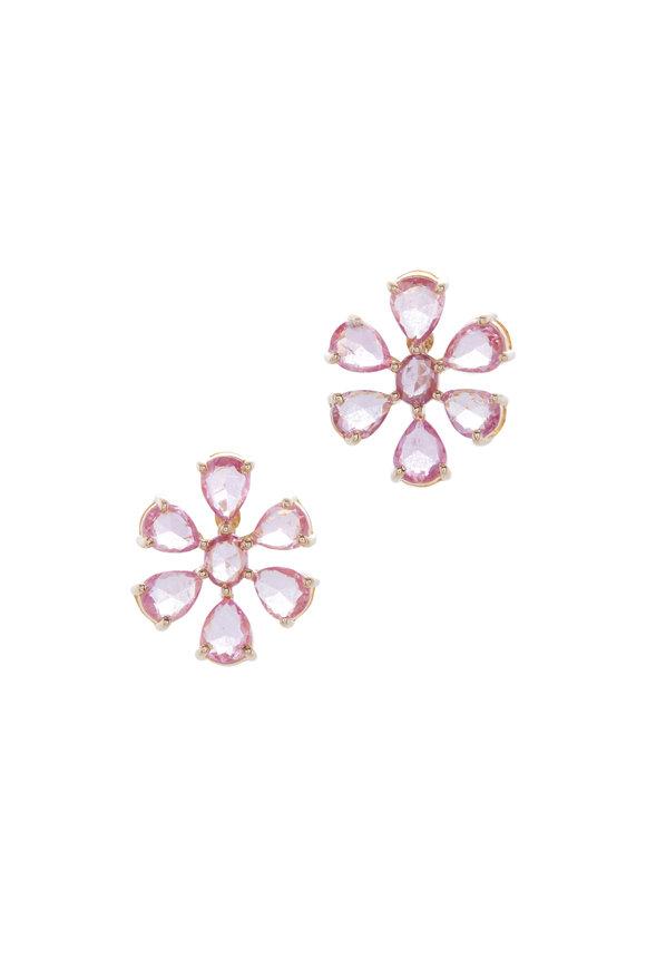 Loriann Yellow Gold Pink Sapphire Flower Earrings