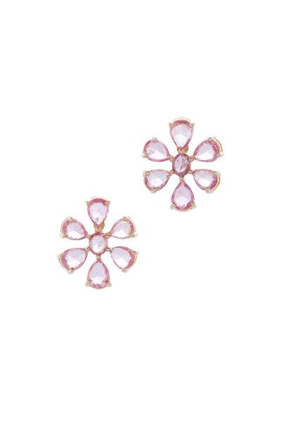 Loriann - Yellow Gold Pink Sapphire Flower Earrings