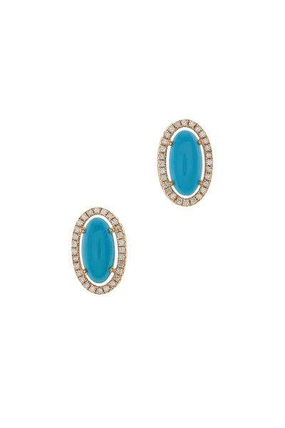 Loriann - Oval Turquoise & Diamond Earrings