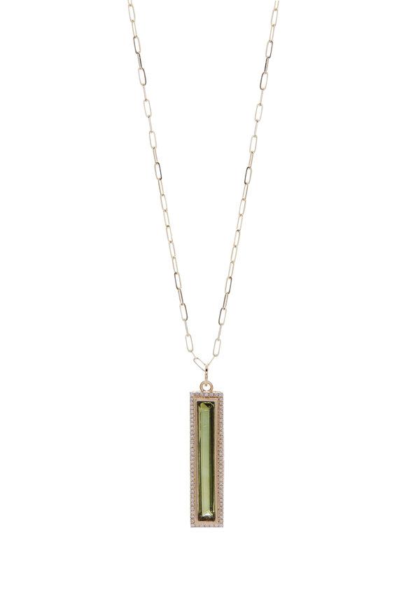 Loriann Green Tourmaline & Diamond Halo Pendant Necklace