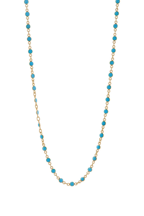 Loriann Round Turquoise Chain Necklace