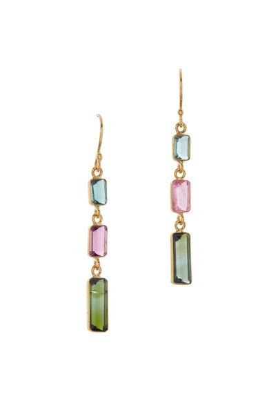 Loriann - Triple Tourmaline Drop Earrings