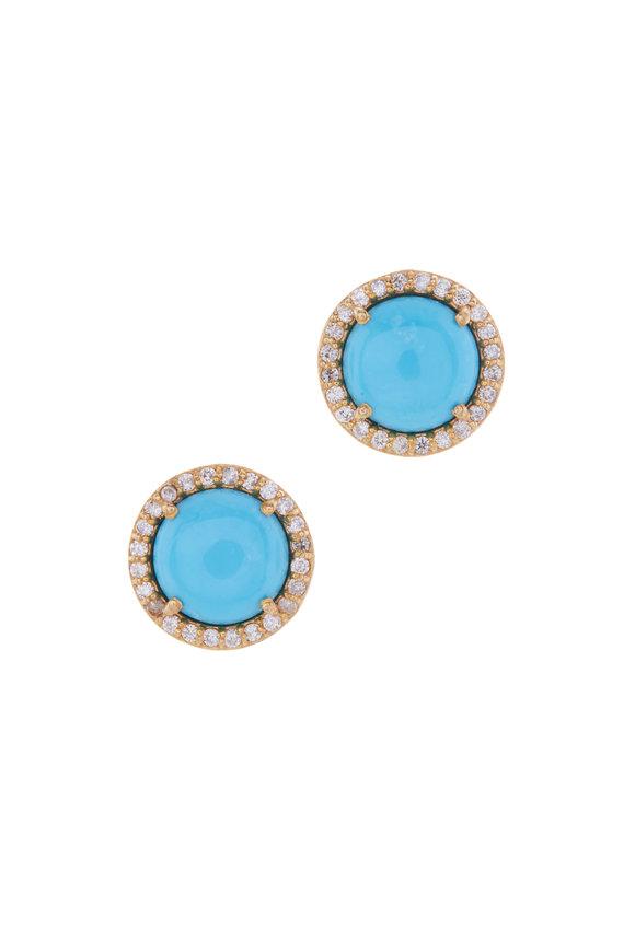 Loriann Sleeping Beauty Turquoise & Diamond Studs