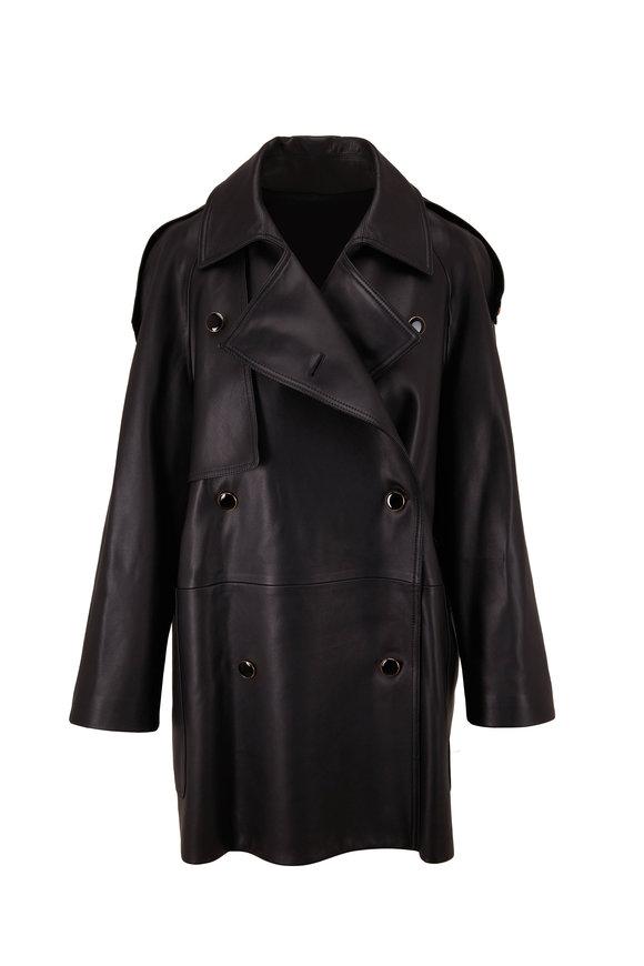 Khaite Eden Black Leather Trench Coat