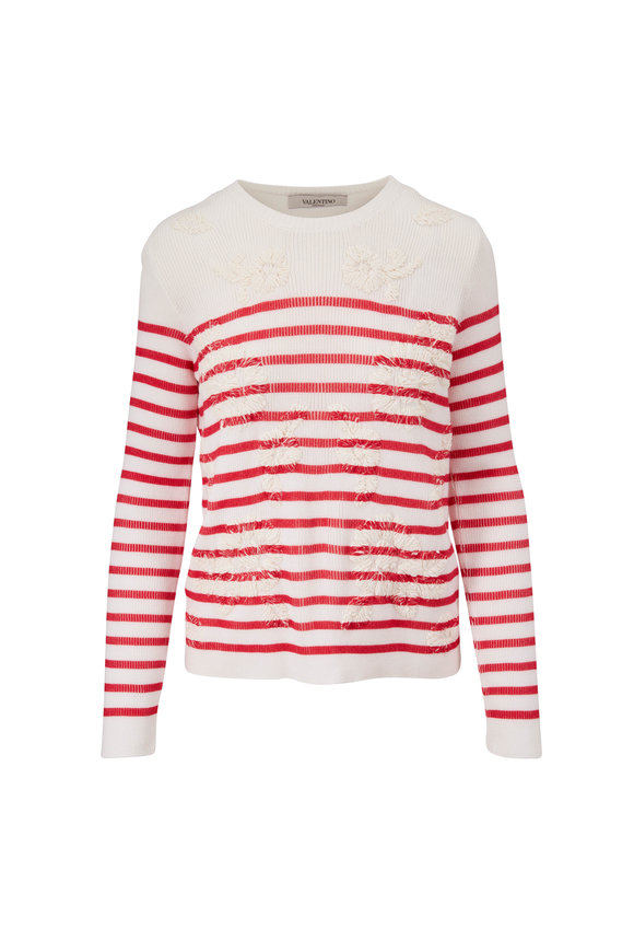 Valentino Ivory & Red Stripe Embroidered Sweater