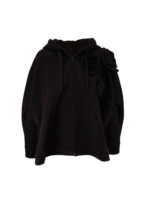Valentino Black Rose Blossom Jersey Zip Cape