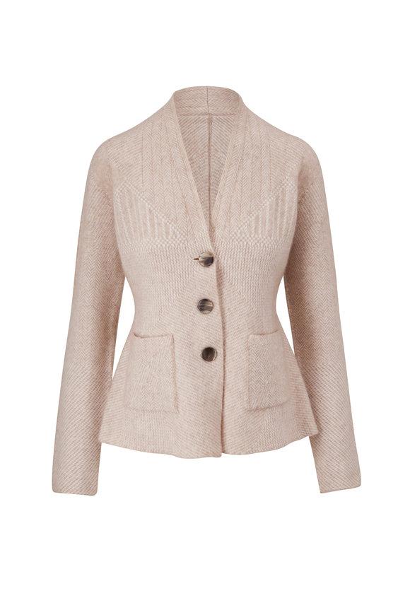 Giorgio Armani Oatmeal Cashmere & Silk Knit Jacket