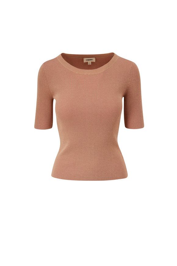 L'Agence Alessi Tan Ribbed Sweater