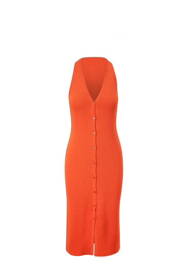 L'Agence Julian Orange Knit Midi Dress