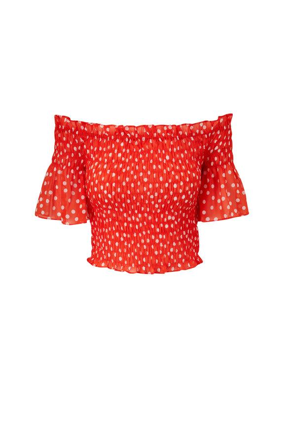 L'Agence Bexley Orange & White Dot Off-The-Shoulder Top