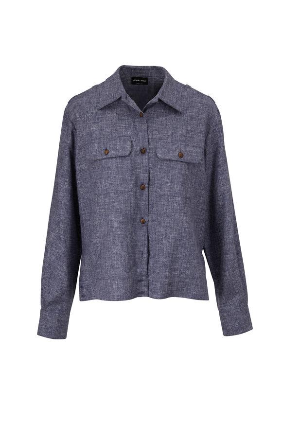 Giorgio Armani Blue Denim Effect Silk Button Down