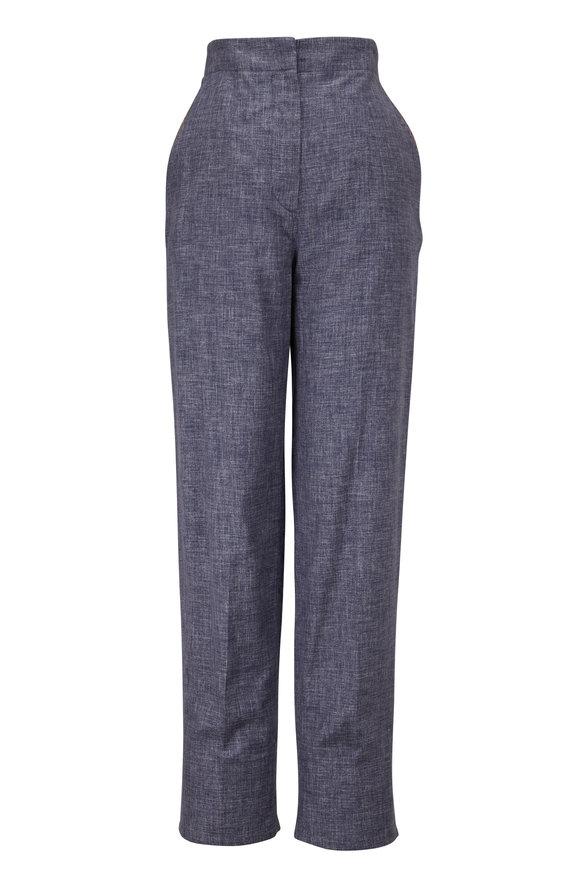 Giorgio Armani Blue Denim Effect Silk Pant