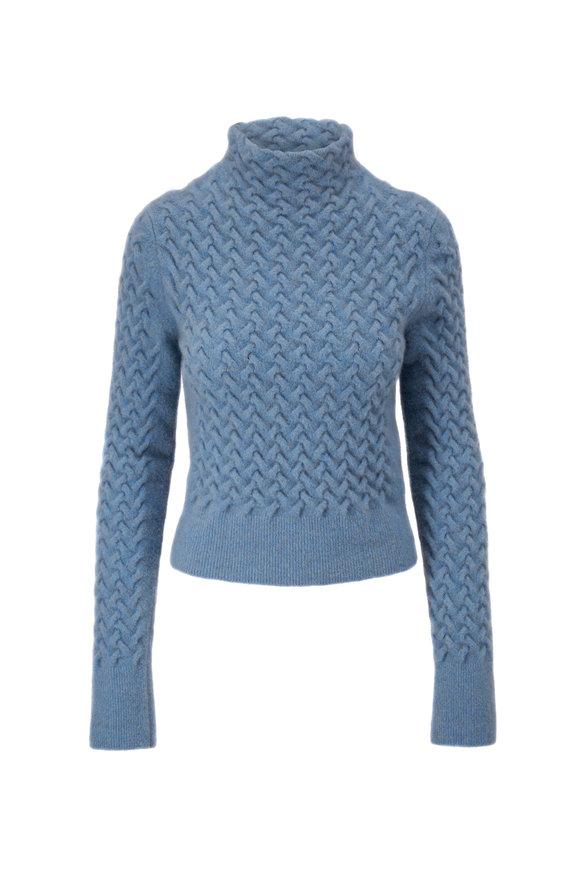 Giorgio Armani Blue Textured Mockneck Sweater