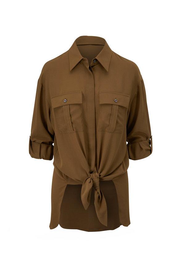 Michael Kors Collection Juniper Knotted Silk Utility Shirt