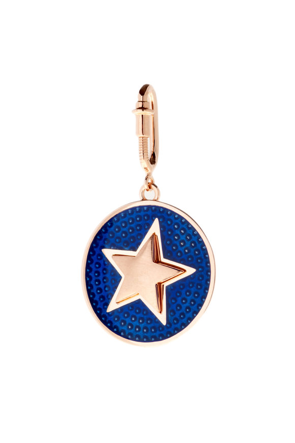 Selim Mouzannar Rose Gold Blue Enamel Star Charm