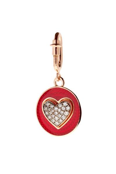 Selim Mouzannar - Rusty Red Enamel Diamond Hear Charm