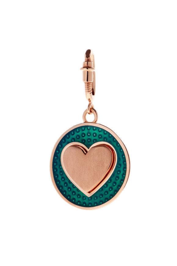 Selim Mouzannar Rose Gold & Green Enamel Heart Charm