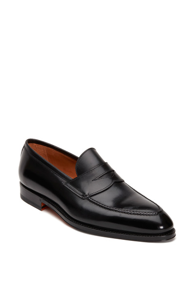 Bontoni - Principe Black Leather Penny Loafer