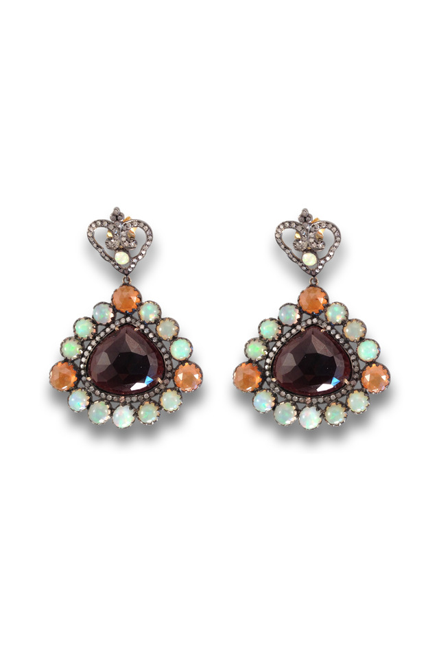 Gold And Silver Multi Stone Garnet Center Earrings
