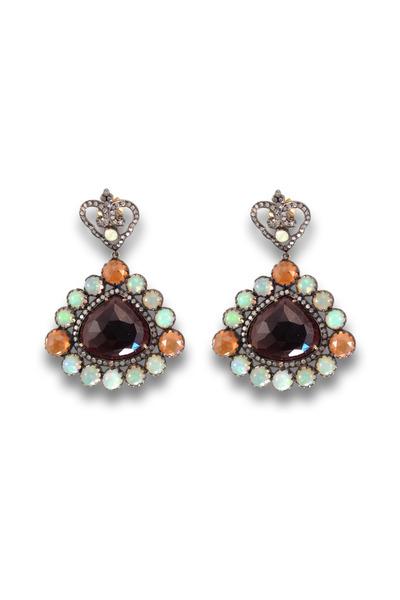 Loriann - Gold And Silver Multi Stone Garnet Center Earrings