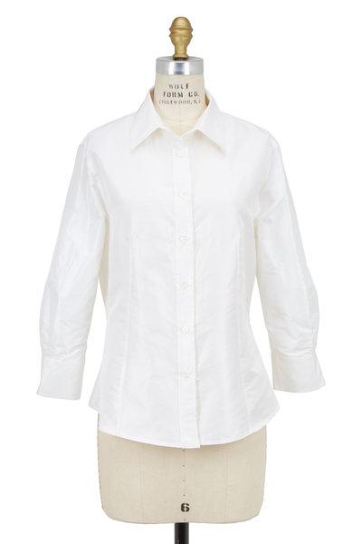 Carolina Herrera - White Silk Taffeta Blouse
