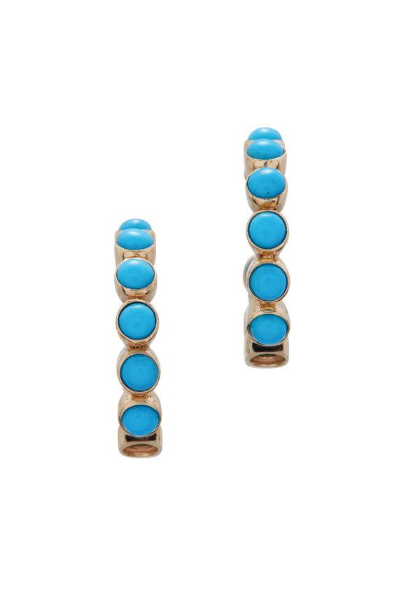 Loriann Turquoise & Diamond Hoops