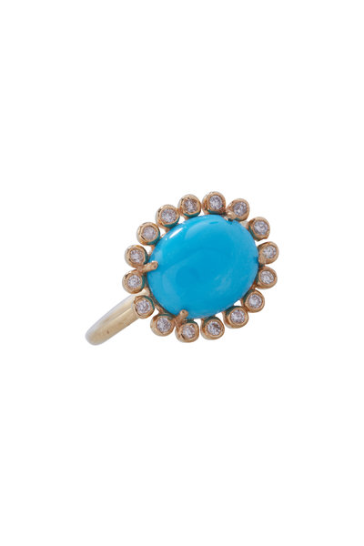 Loriann - Turquoise & Diamond Flower Ring