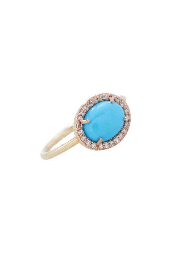 Loriann Turquoise & Diamond Halo Ring