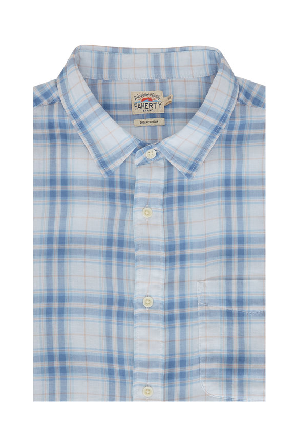 Faherty Brand The Chill Blue Plaid Cotton Sport Shirt
