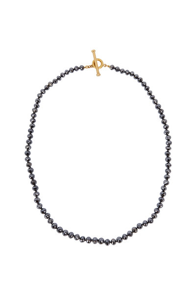 Caroline Ellen - 20K Yellow Gold Black Diamond Rondelle Necklace