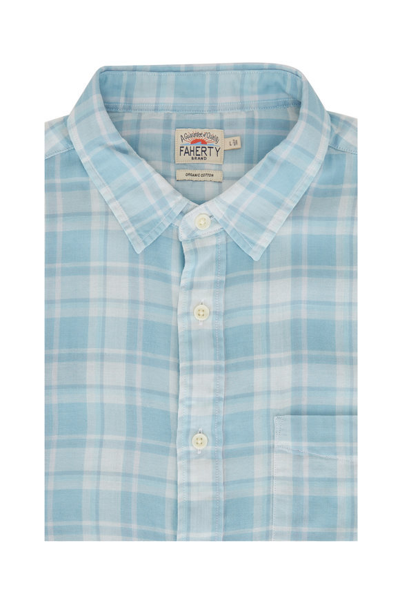 Faherty Brand The Chill Turquoise Cotton Sport Shirt