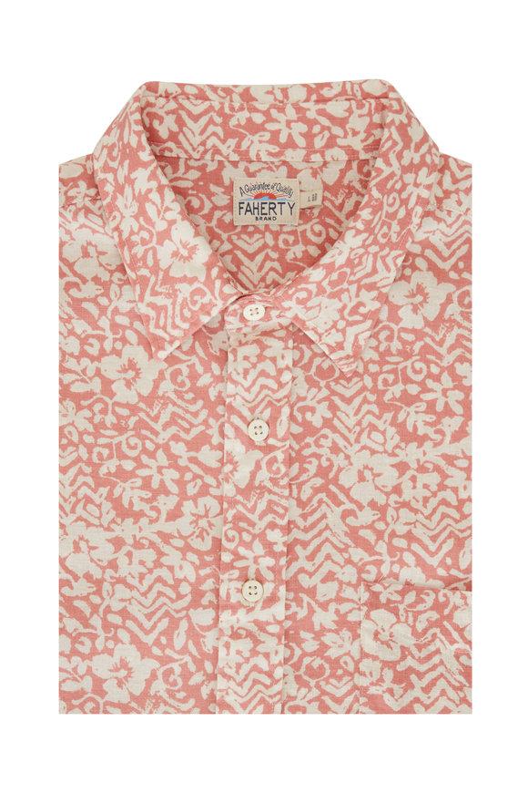 Faherty Brand Breeze Rose Short Sleeve Sport Shirt