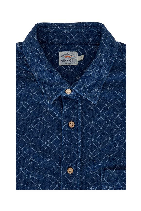 Faherty Brand Moonlight Batik Navy Short Sleeve Sport Shirt