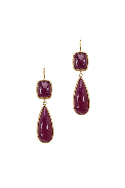Caroline Ellen - Yellow Gold Ruby Drop Earrings