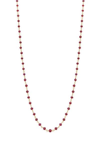 Caroline Ellen - Yellow Gold Ruby Bead Wrap Necklace