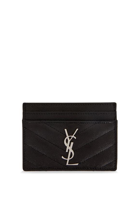 Saint Laurent Black Quilted Leather Card Holder