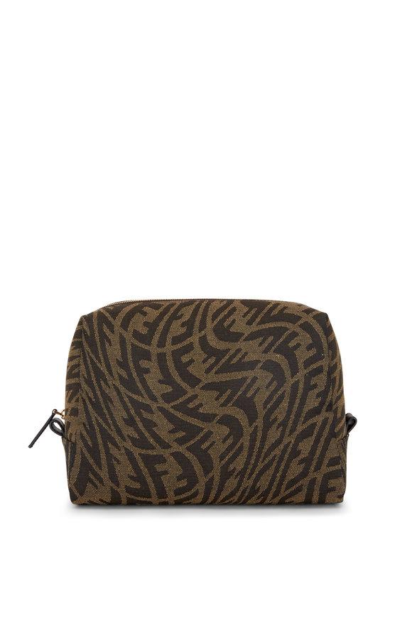 Fendi Brown Vertigo FF Print Cosmetic Bag