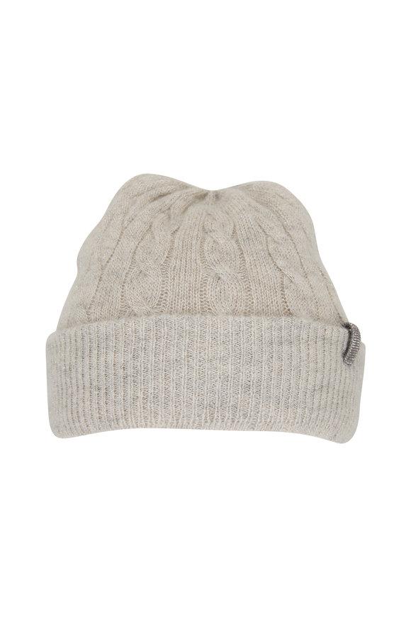Brunello Cucinelli Silver Lurex Cable Knit Beanie