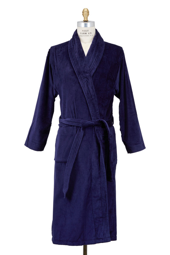 Derek Rose Triton Navy Blue Terry Cotton Robe