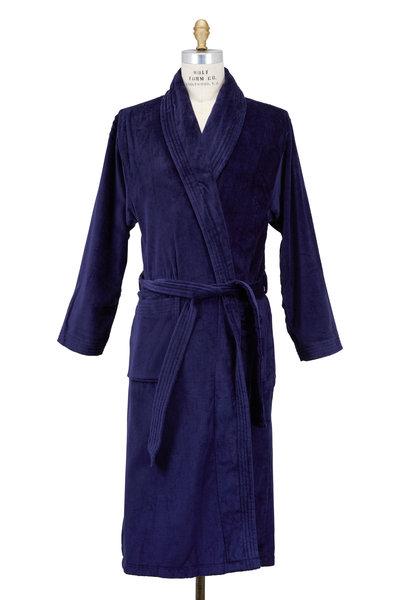 Derek Rose - Triton Navy Blue Terry Cotton Robe