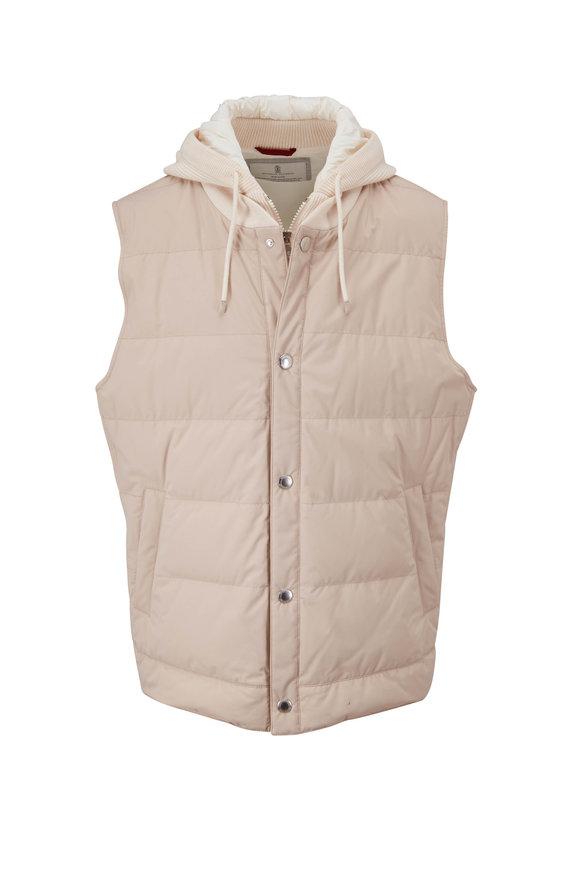Brunello Cucinelli White Padded Hooded Vest